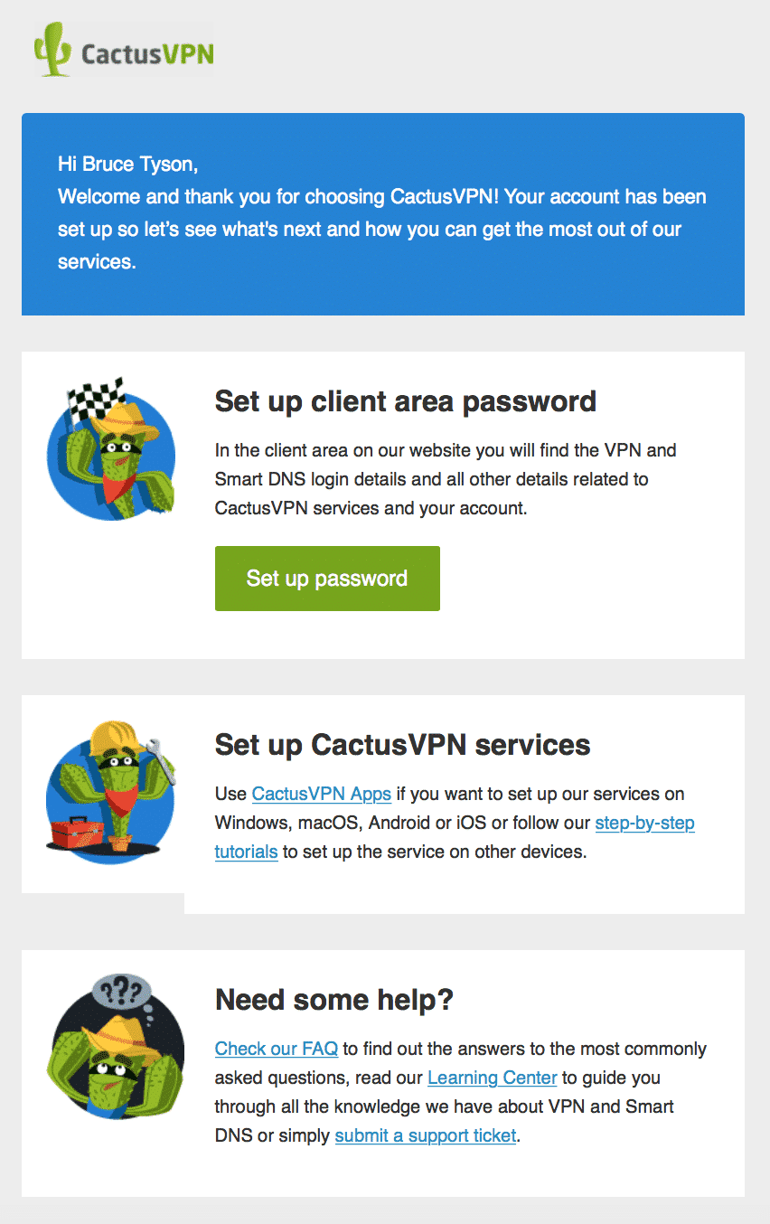 CactusVPN First Email