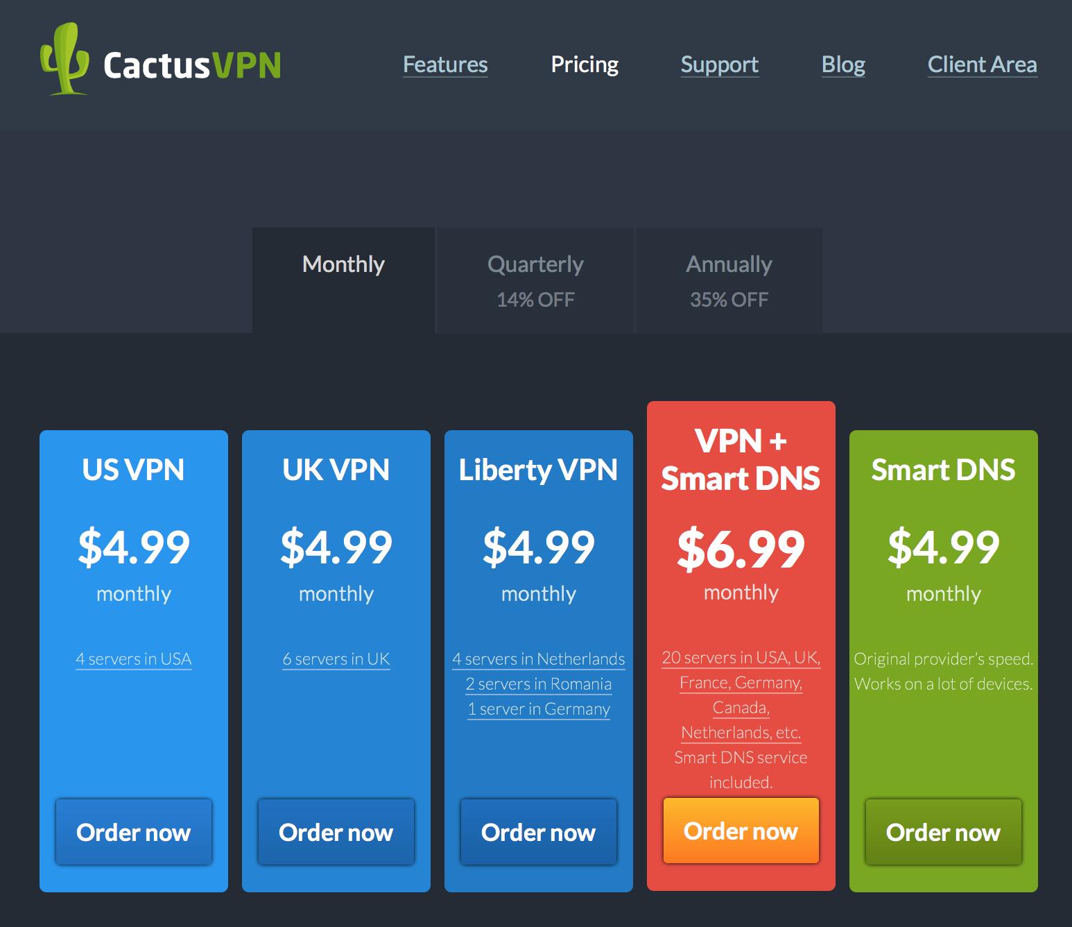 CactusVPN service options