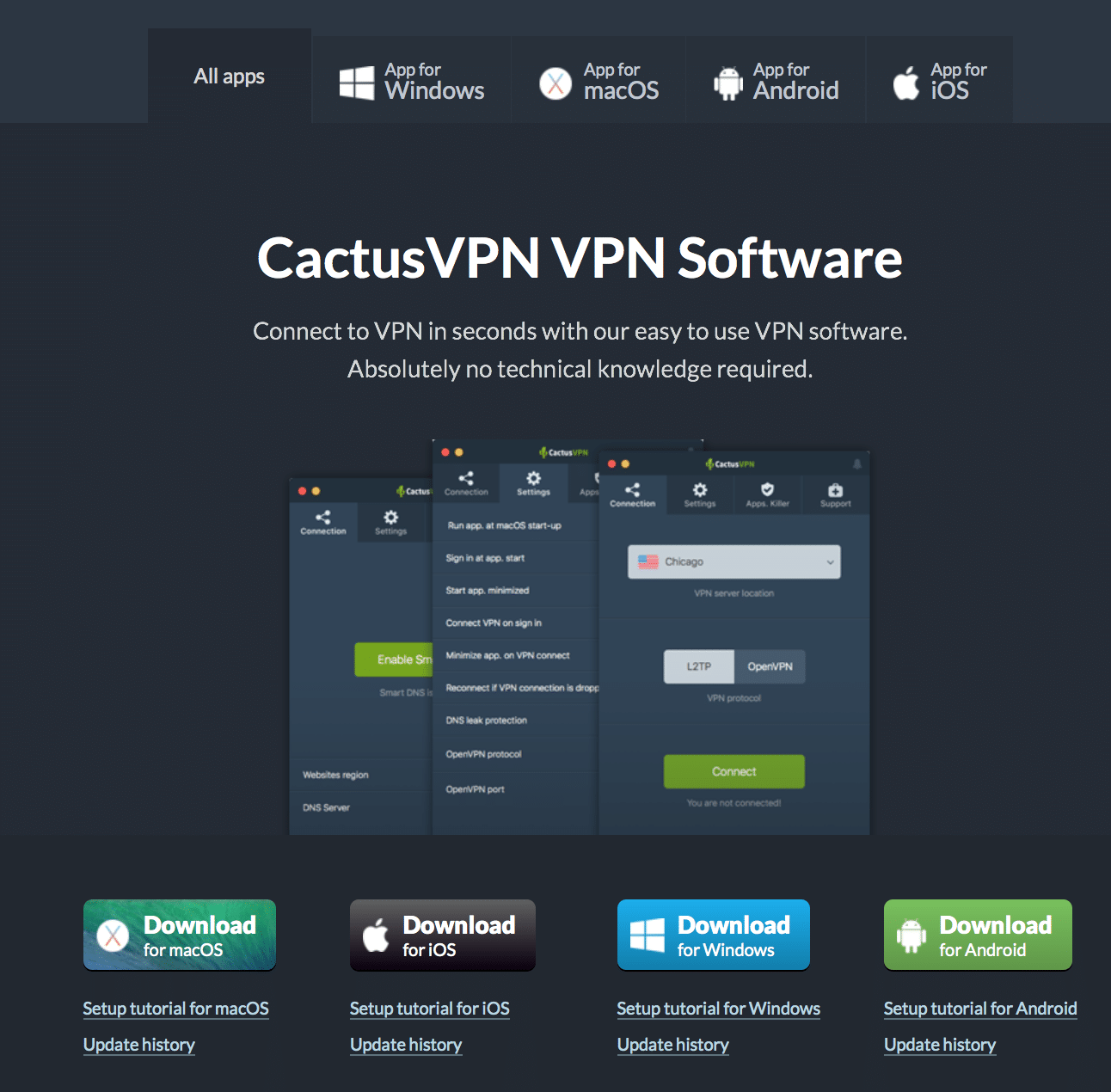 CactusVPN VPN software