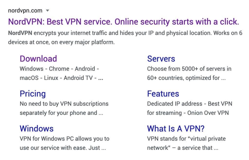 NordVPN markets to y.ou through Google Search results