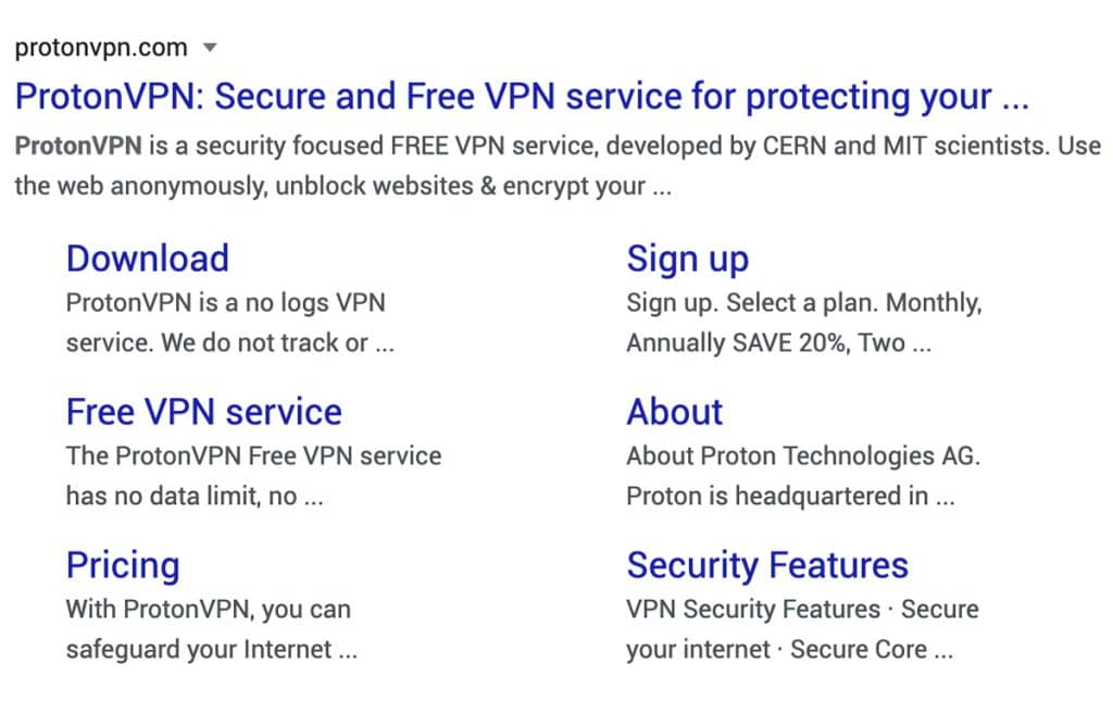 ProtonVPN tells their story through Google Search results.