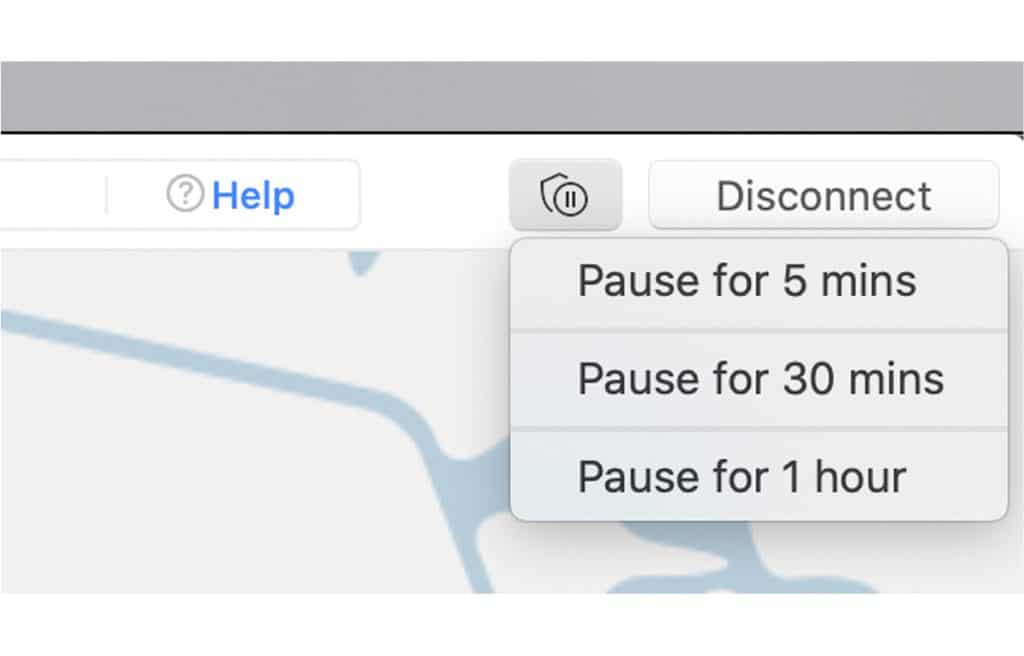 You choose how long to pause your NordVPN service.
