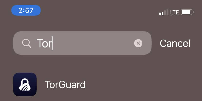 Launch the new TorGuard app for iOS from your phone's app library.