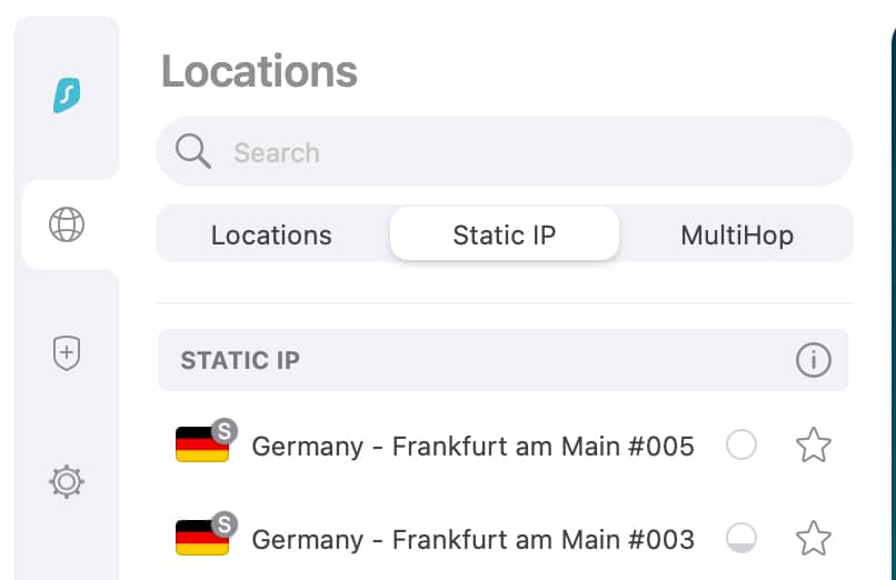 You can choose a static IP from any available country.