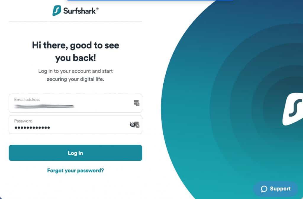 Surfshark VPN login screen.