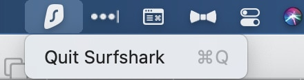 You may quit Surfshark by right-clicking the VPN's menu bar icon.