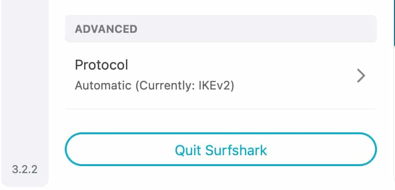 """Your VPN protocol is displayed under the """"Advanced"""" bar on Surfshark's """"Settings"""" menu."""