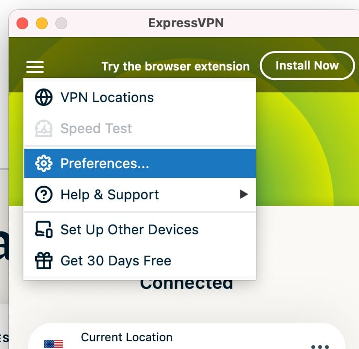 """Use the pancake menu to access the """"Preferernces"""" settings for ExpressVPN app."""