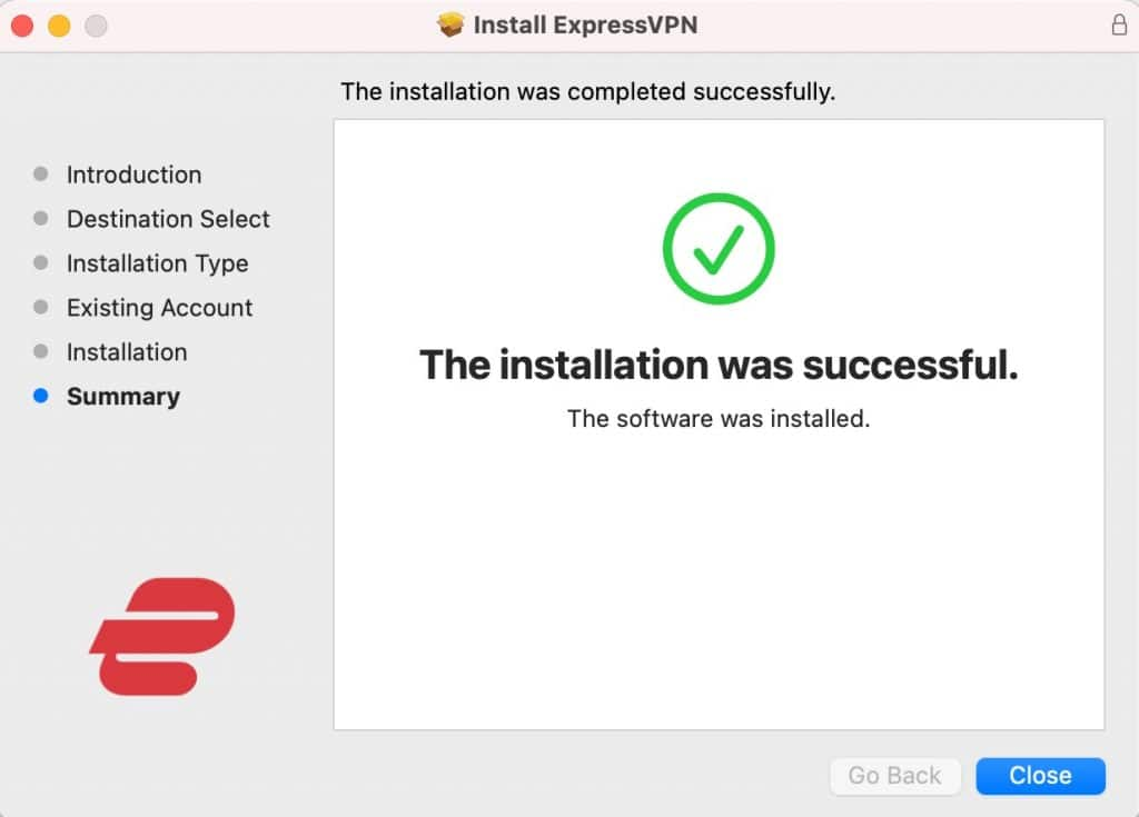 You've completed the ExpressVPN install.