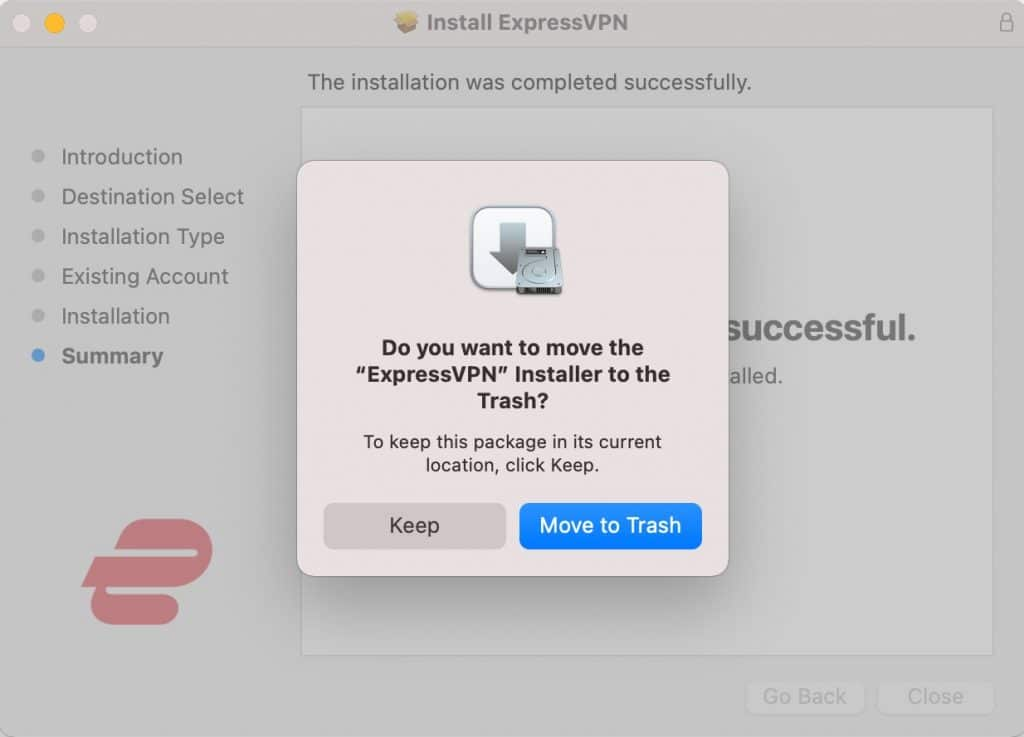 Move the ExpressVPN installer to the trash. If you need it again, you can always download it again.