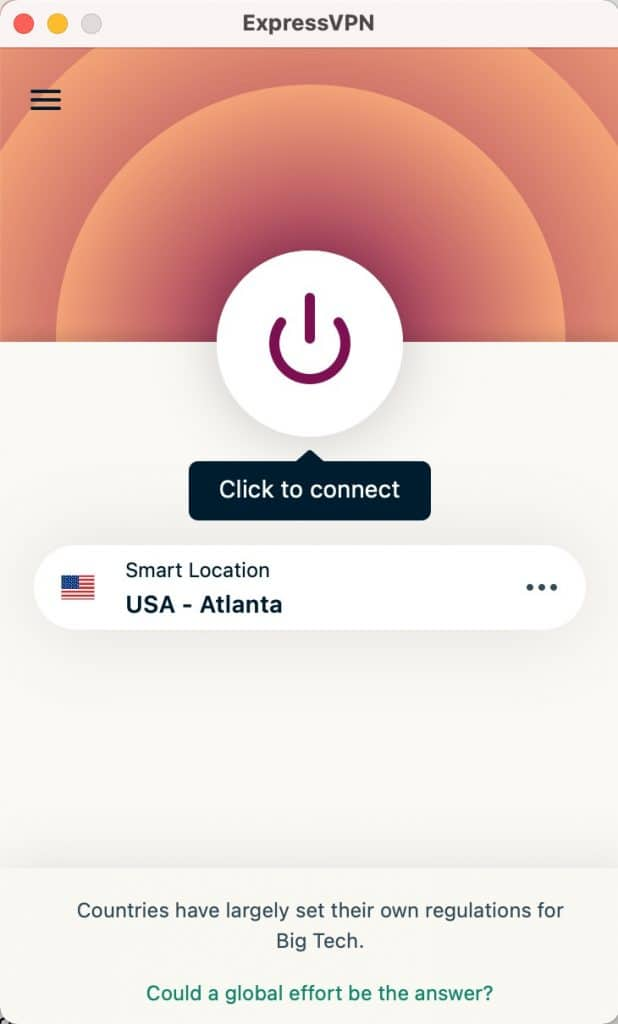 """Click the """"power"""" button to Connect ExpressVPN."""