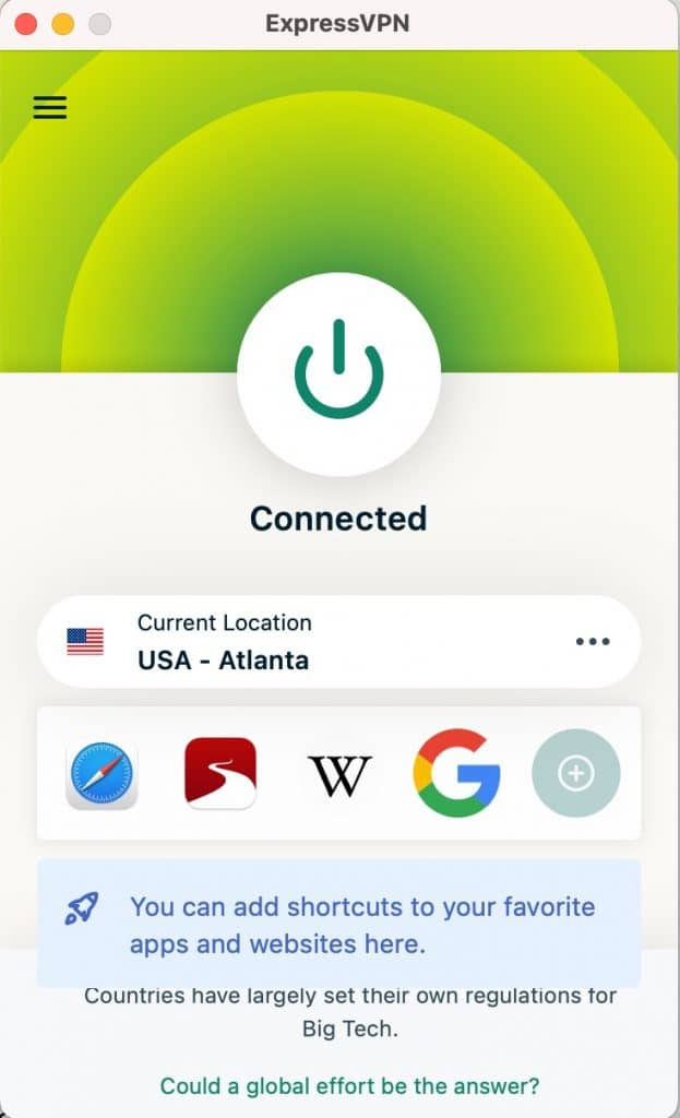 Your're connected to ExpressVPN.