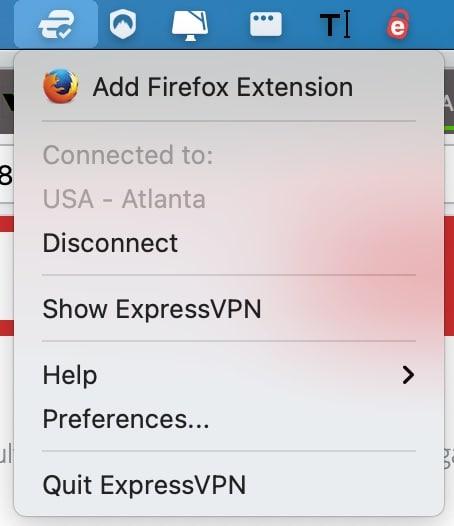 ExpressVPN in MacOS menu bar