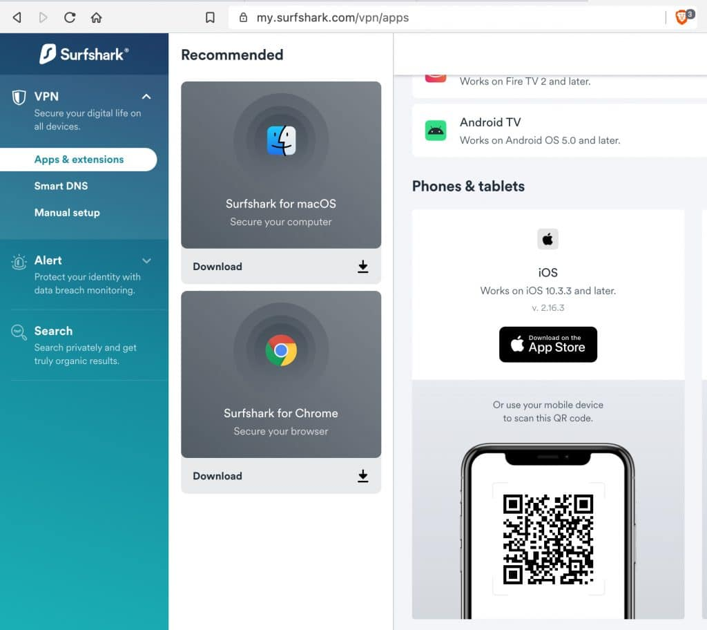 Install Surfshark iOS from your VPN account login page.