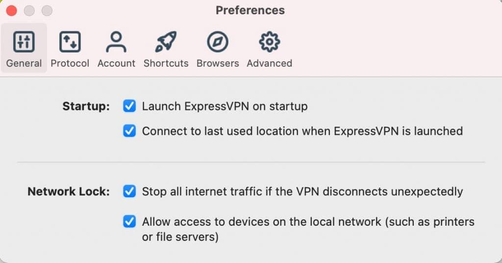 """General Tab"" for ExpressVPN app Mac OS."